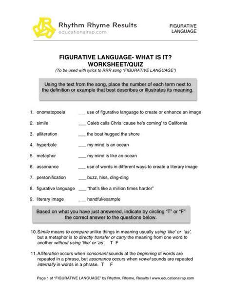 printable figurative language worksheets 2