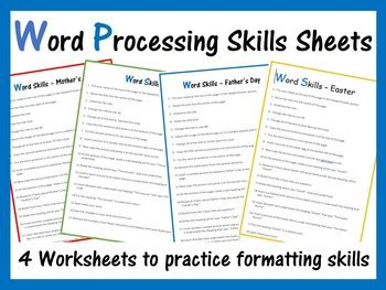 microsoft word exercise worksheets computer creations tpt