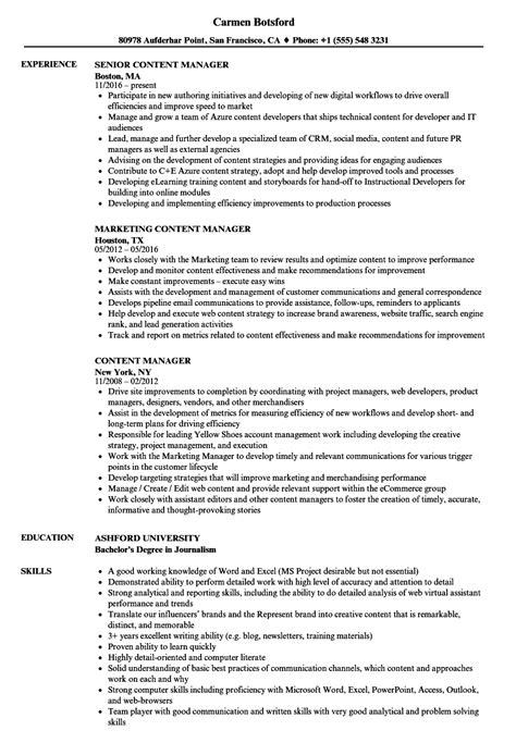 content manager resume sles velvet jobs