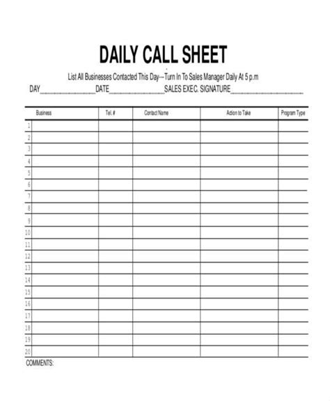 free 17 call log templates