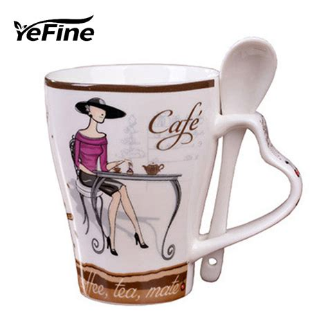 yefine ceramics fashion elegant pattern design funny cups
