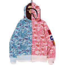 pink and blue bape shirt bape xxv cities camo 2nd ape shark half zip hoodie blue pink modesens