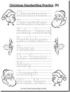 free kindergarten christmas handwriting worksheet homeschooling 3 boys