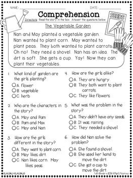 question comprehension passages multiple choice questions