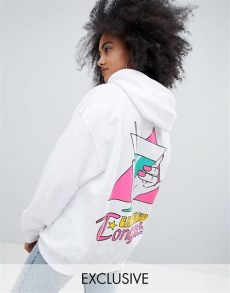 crooked tongues crooked tongues oversized hoodie in white with holding glass print asos