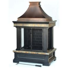lowes outdoor fireplace shop garden treasures bronze steel outdoor wood burning fireplace at lowes