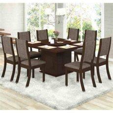 conjunto para sala de jantar mesa e 8 cadeiras viero lara choco canela sala de jantar - Laras De Mesa Para Sala Precio
