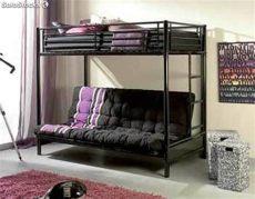 litera con futon litera metalica bali con somier superior y futon a libro abajo