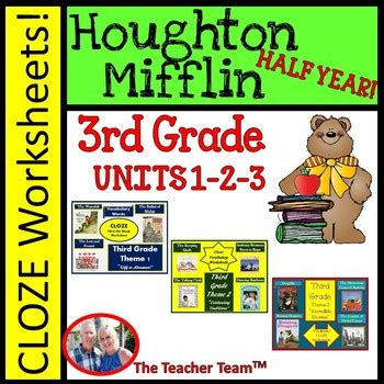houghton mifflin reading 3rd grade worksheets bundle themes