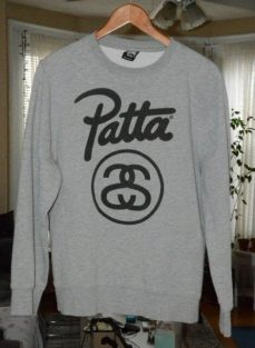 patta hoodie ebay patta x stussy gray crewneck sweater sweatshirt s m medium ebay