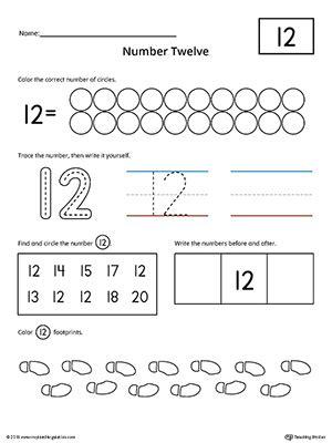 number 12 practice worksheet myteachingstation