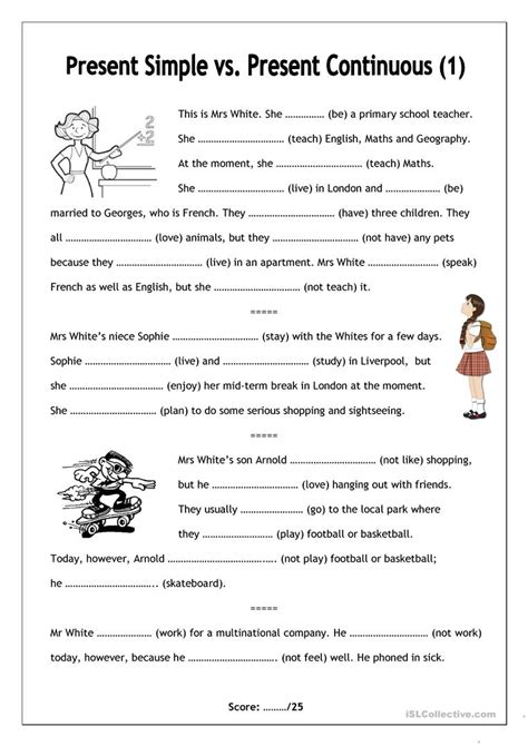 frills worksheet ages present simple present continuous 1