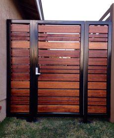 metal gate frame for horizontal wood fence modern horizontal style entry gate ipe mangaris tropical hardwood prominent welded steel frame