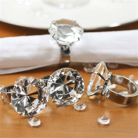acrylic diamond engagement ring napkin rings textiles linens