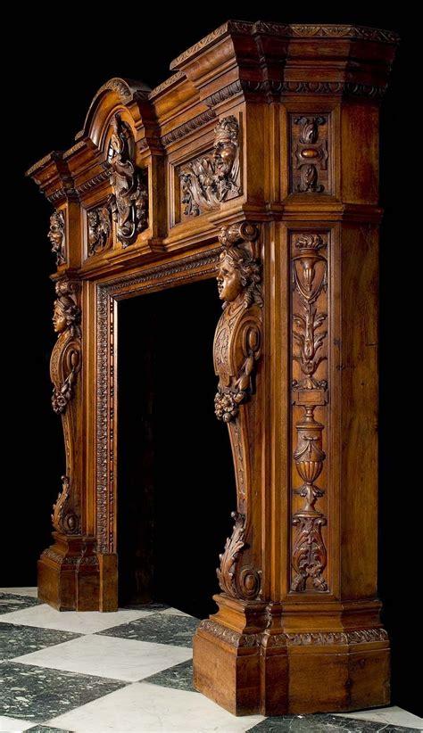 richly carved neo renaissance walnut chimneypiece