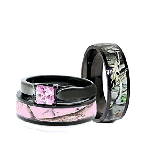 camo wedding rings set black plated titanium