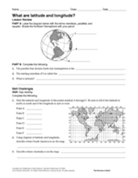latitude longitude geography printable 6th 12th grade teachervision