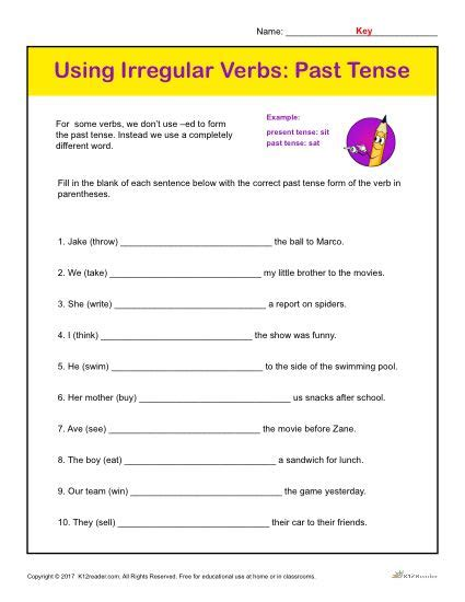 irregular verbs tense printable classroom activity