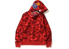bape color camo shark zip hoodie - Bape Hoodie Red