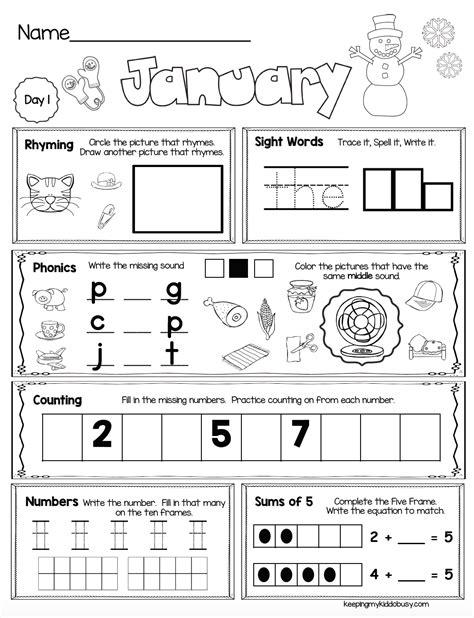 free week january seat work kindergarten school kindergarten