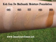 professor koh do maifanshi moisture foundation swatches and review - Koh Gen Do Maifanshi Moisture Foundation Swatches
