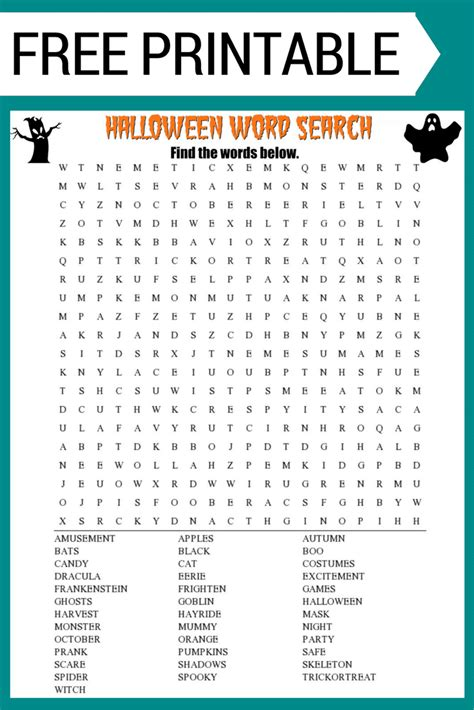halloween word search printable free download