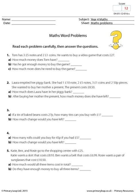 primaryleap maths word problems worksheet maths printable worksheets