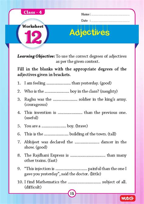 51 english grammar worksheets class 4 instant downloadable