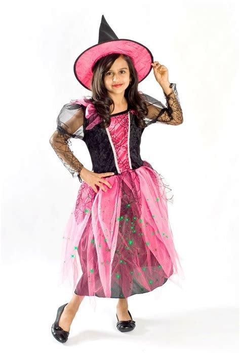 witch costume girls black light pink glowing size
