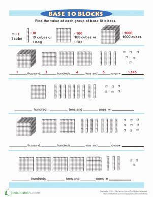 base 10 blocks worksheet education