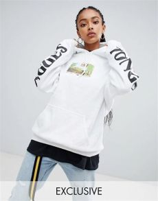 crooked tongues hoodie in white with postcard print crooked tongues oversized hoodie in white with photo print sleeve print asos
