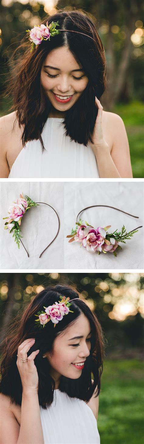 simple elegant summer rose blossom headband creamy pink