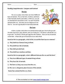 reading comprehension compare contrast 2nd 3rd grade worksheet