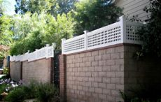 vinyl fence height extensions vinyl blockwall extensions vinyl solid fencing california los angeles nuys burbank
