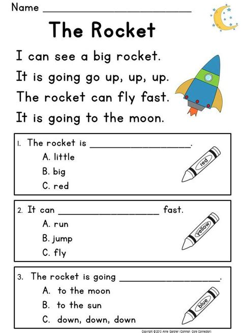 kindergarten reading comprehension guided rdg level passages questions