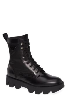 prada combat boots mens prada leather logo combat boot in nero black for lyst