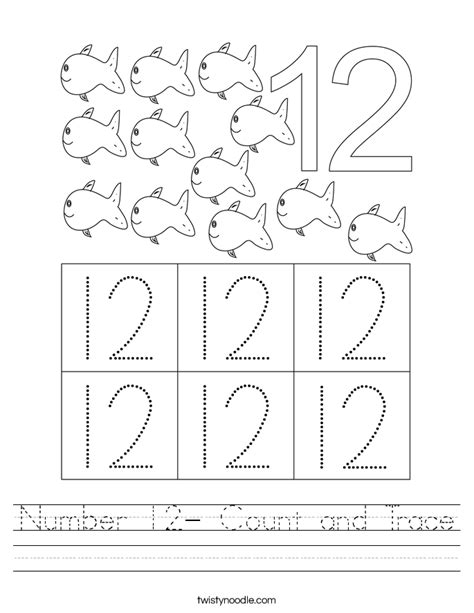 number 12 count trace worksheet twisty noodle