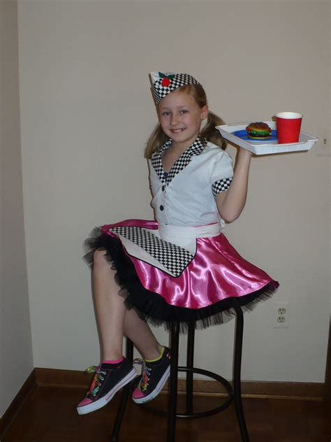 girl 50 car hop diner waitress costume size