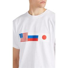 gosha rubchinskiy flag t shirt gosha rubchinskiy flag print cotton t shirt in white for lyst