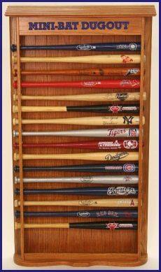 mini baseball bat rack display pin on baseball