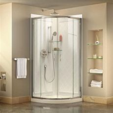 acrylic shower lowes dreamline prime white acrylic wall floor 3 corner shower kit actual 76 75 in x 33