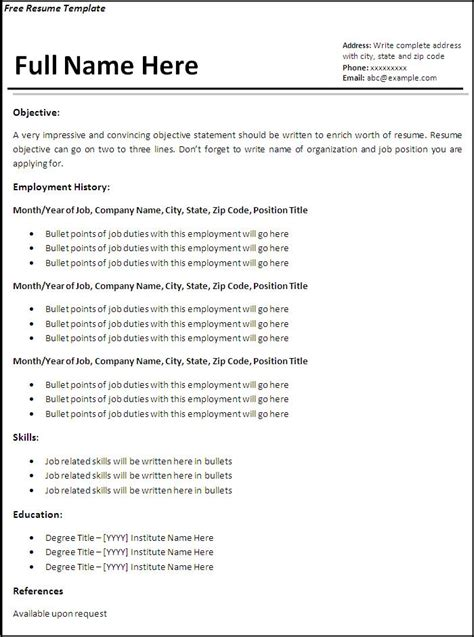 free resume sles download sle resumes