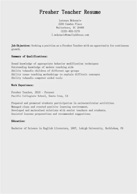resume sles fresher teacher resume sle