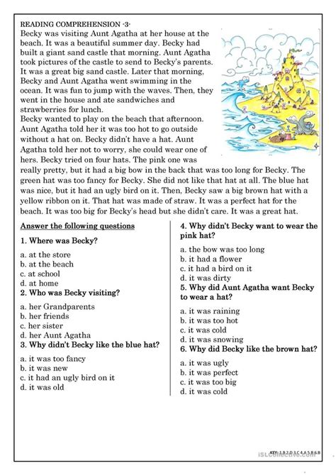 reading comprehension beginner elementary students 3 worksheet free