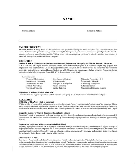 9 resume objective sles exles templates