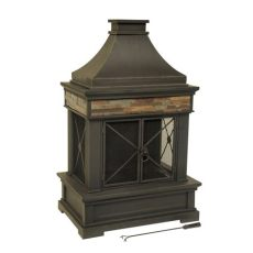 lowes outdoor fireplace shop allen roth brown steel outdoor wood burning fireplace at lowes