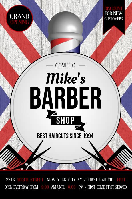 barber shop ad poster template postermywall