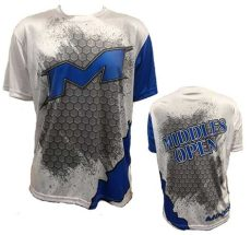 miken softball apparel miken middles open sleeve shirt in white blue grey sub smash it sports