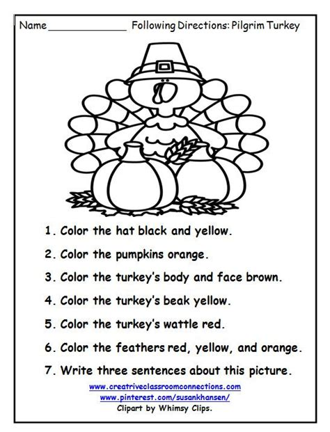 free turkey worksheet fun students write follow directions