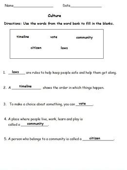2nd grade social studies culture test study sheet